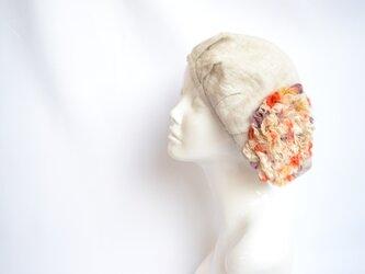 麻のお花ベレー帽:国内送料無料/1905bの画像