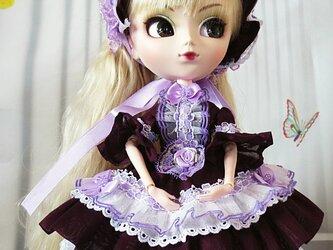 sold 期間限定販売6/9まで!ドール服 すみれ色のロリータメイド ビーズ刺繍フリルワンピースドレスの画像
