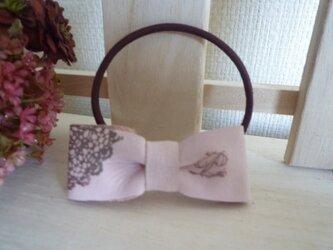 本革リボンヘアアクセサリー(スモーキーピンク)の画像