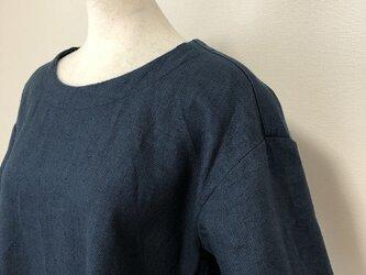 リネンのシンプルワンピースM~L ブルー系の画像