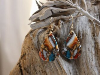 OysterCopperTurquoise earrings オイスターコッパーターコイズ ピアス/イヤリング 14KGFの画像