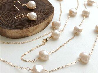 大粒真珠ネックレス・ピアス セットの画像
