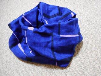 ダブルガーゼのスヌード(一重)ブロック柄(紺ピンク黒)の画像