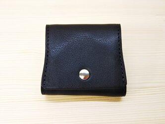 【栃木レザー】口が大きく開くヌメ革の小銭入れ*ボックス型(黒)の画像