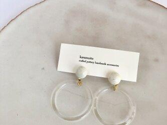 陶maru+Acrylic ring : チタン : ピアス/イヤリングの画像
