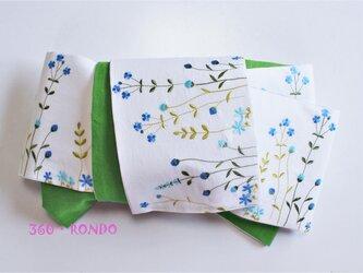 海外コットン・リネン 「風に揺れる花畑(BG) 刺繍」★半幅帯4m リバーシブルの画像