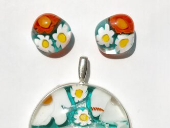 【A様受注作品】ガラスミルフィオリ 純銀シルバー枠「夏海」の画像