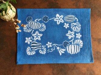 藍棒染めランチョンマット カボチャと瓜の画像