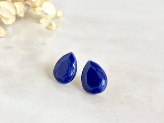 陶drop : 瑠璃色 : ピアス/イヤリングの画像
