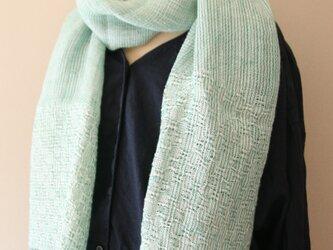 リネンの手織りレースショールの画像