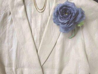グレーパープルの薔薇 * シルクデシン製 * コサージュの画像