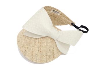 リボンサンバイザー(サイドリボン)太麦&クラッシュドアイスベージュの画像