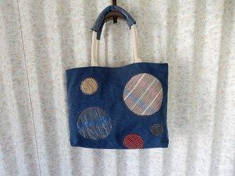 帆布と裂き織のトートバッグ 丸の画像