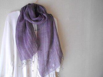 麻の紫ストールの画像