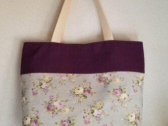 ツートンカラーのトートバッグ 花柄×紫の画像