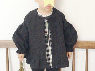 リネン裾フリル ノーカラージャケット / 90cmサイズの画像