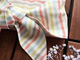 保冷剤 カラフル ポップ ストライプ ダブルガーゼ 綿100% 節約 快適 エコ スカーフ ネッククーラーの画像