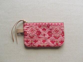 ポーチ L / ヴィンテージ 帯 ピンクの画像