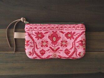 ポーチ L / ヴィンテージ 帯 ピンク(赤花)の画像