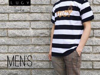 《Men's》ロゴ ボーダーTee【NAVY×WHITE】の画像
