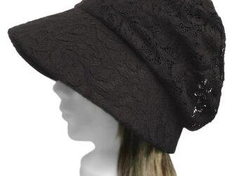 花柄コードレース/セレブ帽子(ゆったり)◆ブラックの画像