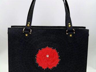 トートバッグ(レディス・薔薇+マットブラック)の画像