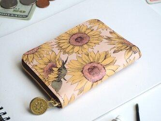 ラウンドファスナー コンパクト財布(サンフラワー)牛革  花柄 小さい ILL-1145の画像
