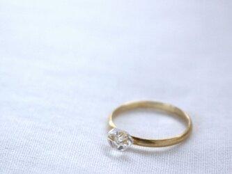 HerkimerDiamond Ring ハーキマーダイヤモンドのシンプルリング マット仕上げ Vermeil #13の画像