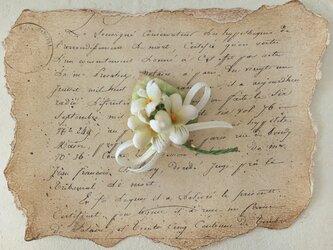 染め花のすみれのポニーフック(オフホワイト)の画像