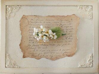 染め花のすみれのコーム(オフホワイト)の画像
