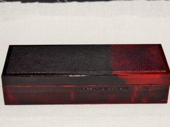 筆道具箱 石目弁柄朱黒漆溜塗の画像