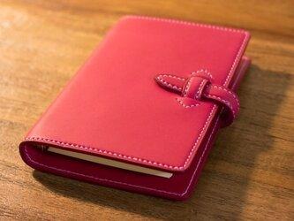 【ミニ6】革のシステム手帳 ピンクの画像