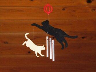 「ねこ」木製ウインドチャイムの画像