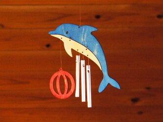 「イルカ」木製ウインドチャイムの画像