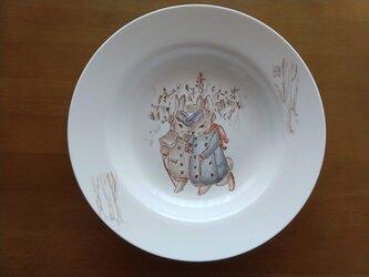 ★一点物★手描きスープ皿★二匹のうさぎ★の画像