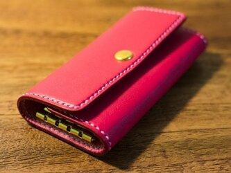革のキーケース(ピンク)の画像
