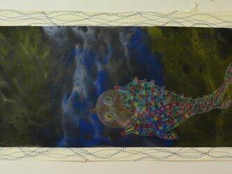 宇宙/ 墨の世界/ 彩墨画 / 水墨画 / 月/ 魚型の宇宙船 /アート作品 / modern paintingの画像