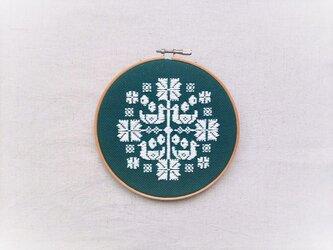 横糸刺繍キット「花時間・鳥」(木枠15cm付き・針なし)の画像