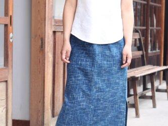 インディゴ絣cotton・スリットスカート・ロング丈の画像