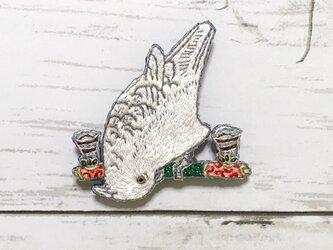 手刺繍浮世絵ブローチ*伊藤若冲「鸚鵡図」よりの画像