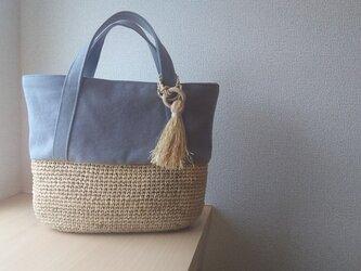『夏の福袋2019』マダガスカル産ラフィアとヴィンテージ帆布のデイリートート (gray)の画像
