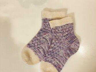 No.112送料込手編み靴下の画像