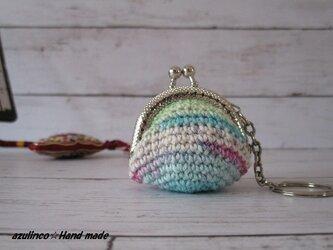 手編み ミニガマ口 Opal 9710 シルバーの画像