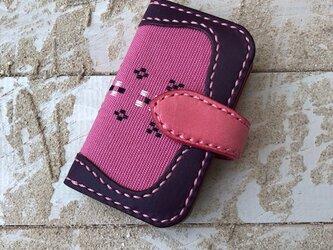 沖縄の織物とイタリアレザーの二つ折りキーケース パープル×ピンク (織物シリーズ)の画像