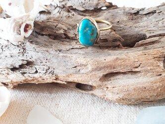 【11号】kingman turquoise ring -brass-の画像