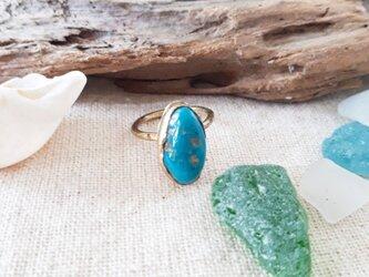 【7号】kingman turquoise ring -brass-の画像