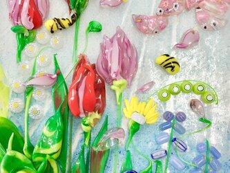 【受注制作】ガラスパネルオブジェ「大濠公園の春爛漫」の画像