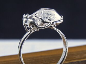 ハーキマーと猫  Herkimer & Cat Ring ⑦の画像