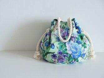 数量限定 新色! ボタニカル花柄リネンマリンバッグ ミントの画像