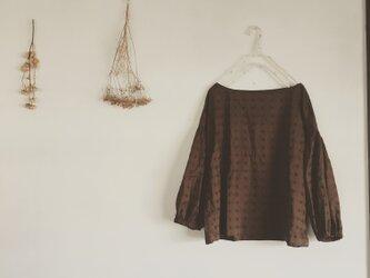 ふんわりブラウンの刺繍風ブラウス(079)の画像